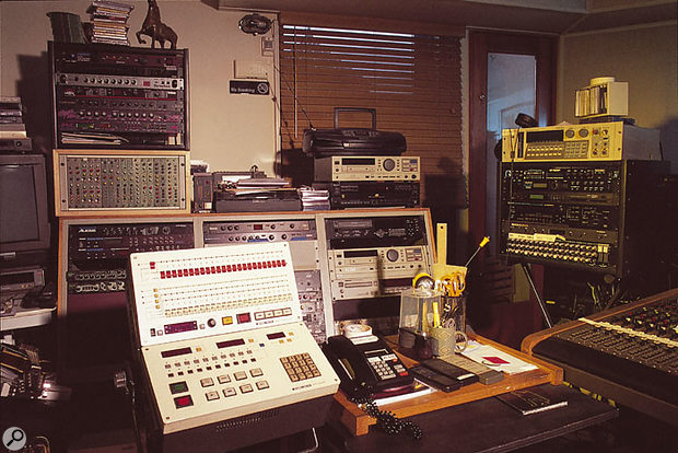 The remote control for Studio B's Otari analogue reel-to-reel recorder, with a selection of outboard gear.