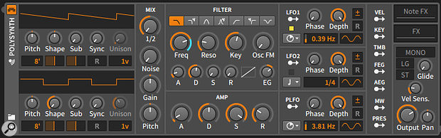 The Polysynth from Bitwig Studio 1, with its LFOs locked in place.