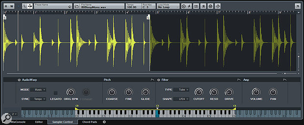 Sampler Control is where you edit the Instrument being played by the currently selected Sampler track.