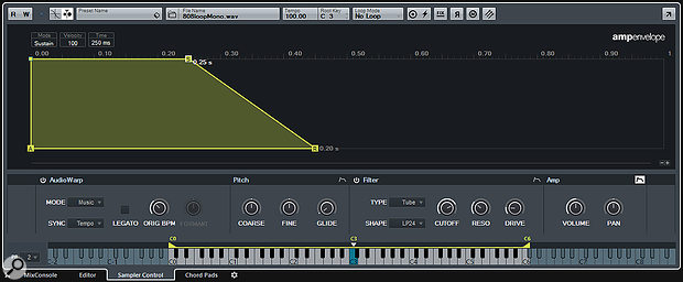 The Pitch, Filter, and Amp sections each offer a multi-stage envelope that can be edited in Sampler Control.