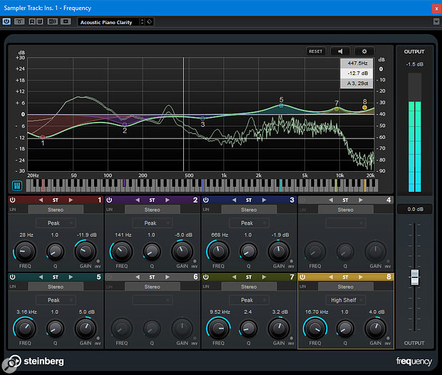 Frequency is a new eight-band parametric EQ included in Cubase Pro 9.