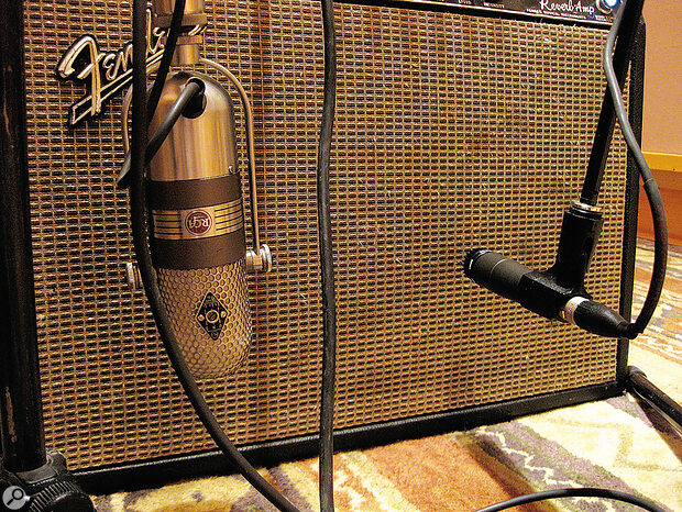 A classic combination is to pair aribbon mic with an SM57: the frequency responses of the two seem to combine particularly well.