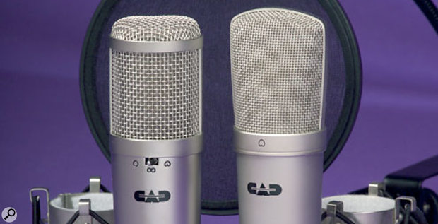 The GXL-series mics under review (clockwise from top left): GXL3000, GXL2200, and GXL1200. The shockmounts and pop shield are included with the GXL-series kits.