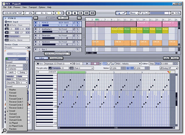 The MIDI Track Inspector with the Arpeggiator page and presets open. The supplied presets only scratch the surface of what's possible.