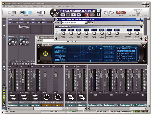 The Console View gives an overview for mixing and setting effects. The virtual mixing board is fairly straightforward. Reverb XL, included in the XL package, sounds better than most stock reverbs, while Powerstrip can add motion to an effect.