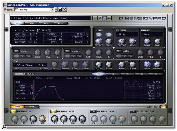 Dimension Pro's basic screen, with two Elements loaded. The 'E' buttons at top left control which Element is up for editing. Above them is the sample used by the Element. The knob controls are moused straight up and down, not circular. If only more hardware units had as much room between pots!
