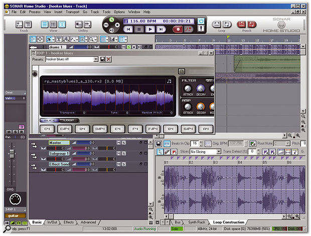 Home Studio now shares the cool grey look of Sonar. The Track Inspector on the left gives an in-depth look at the focused track, while the Docking view (bottom right) expands over the entire right-hand side of the screen for audio and MIDI editing on a large scale. Floating on top is an abbreviated look at the XL version's RXP REX player, loaded with a pre-sliced guitar file.