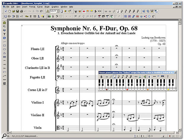 A basic Capella 2004 window, with a well-laid-out score. The on-screen keyboard can be used for note entry, and the stripey effect indicates where to place your mouse to instantly double or halve note values.
