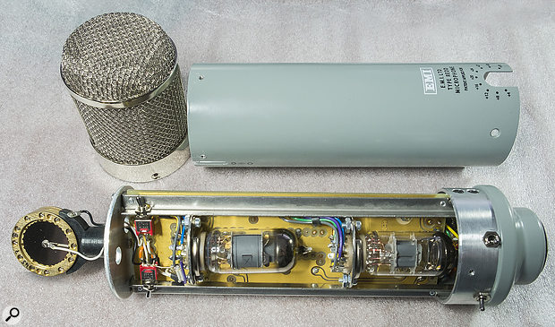 The inside of the microphone, with both valves visible (the output transformer is on the other side of the PCB).