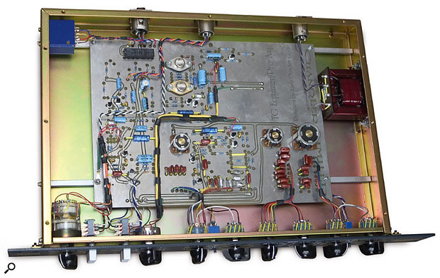 The inside of the TG Channel itself, showing the discrete components and hand-wiring.