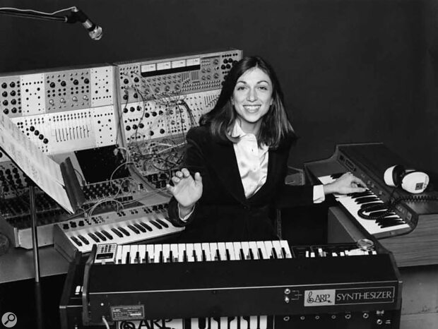 Suzanne Ciani with ARP and Buchla synthesizers c.1977.