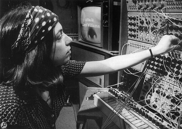 Suzanne with her Buchla modular in Soho Studio.