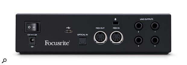 Focusrite Clarett+ 2Pre rear panel