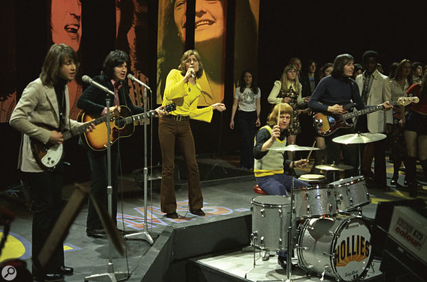 The 'Air That I Breathe' incarnation of the Hollies appears on Top Of The Pops. From left: Tony Hicks (electric guitar), Terry Sylvester (acoustic guitar), Allan Clarke (vocals), Bobby Elliot (drums) and Bernie Calvert (bass).