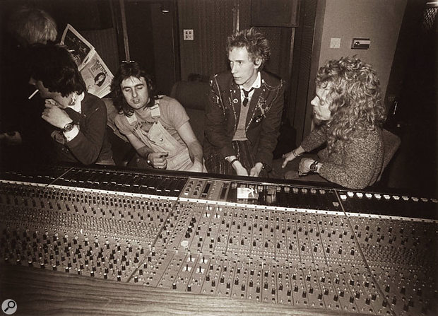 The Sex Pistols' demos were recorded a few months before the album, also at Wessex. At the Cadac desk, from left, are Wessex engineer Tim Friese-Greene, Dave Goodman, Johnny Rotten and Kim Chraves.