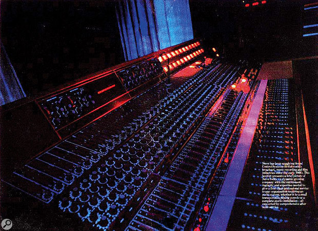 The custom Neve desk that was built for the band's Ramport Studios, as it appeared in a Neve brochure of the time. The console, which later found its way to Bearsville Studios in New York State, was unique in several respects: details can be found on the web site of Phoenix Audio, the UK-based specialists in Neve restoration, who also build new products based on original Neve designs.