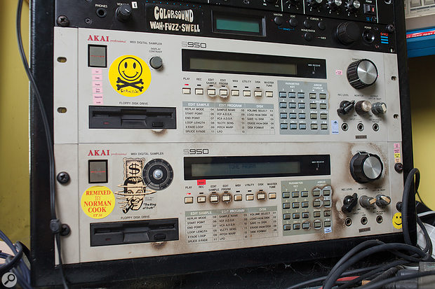 A pair of trusty and well-used Akai S950s.