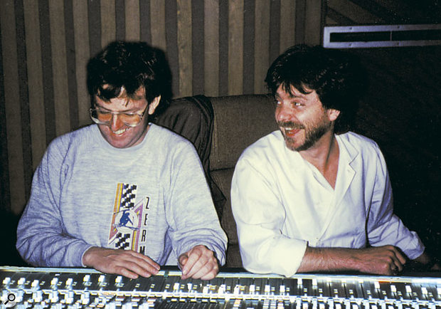 John Hudson (left) and Terry Britten share a joke during the 'What's Love' sessions.