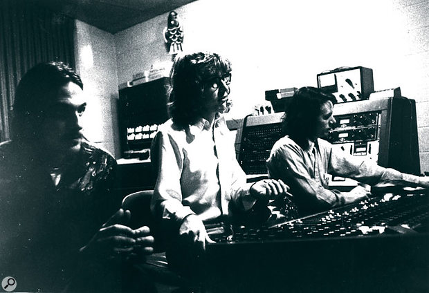 Terry Manning (right) at the desk in Ardent Studios in 1969, with James Taylor and Peter Asher.