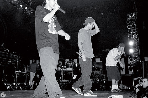 The Beastie Boys on stage in New York, 1992.