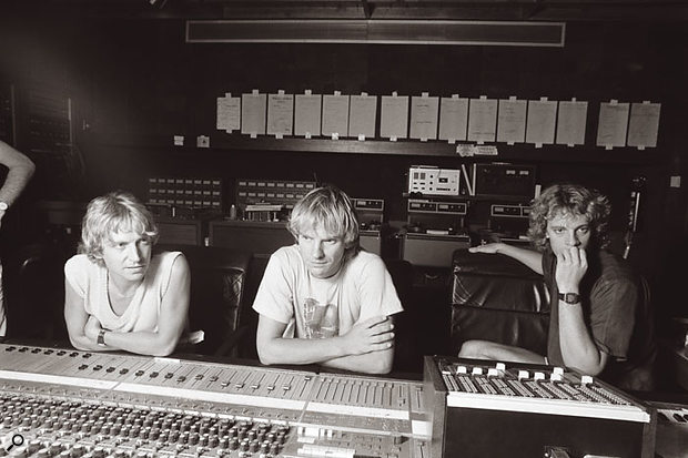 The Police (in happier times) at the Neve console in AIR Studios, Montserrat. Left to right: Andy Summers, Sting and Stewart Copeland.