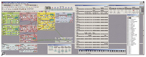 A typical patch in Nord Modular G2 Editor (although note that this screengrab was done on a dual-monitor PC system). The sound-generating modules are cabled together on the left, while the processing modules are situated under the grey bar. On the right you can see the virtual on-screen keyboard and the Parameter Overview module, which is handy for making control assignments on the G2 hardware.