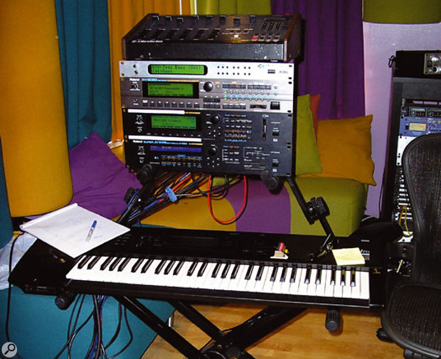 Pharrell Williams's travelling keyboard rack, here at Hit Factory, consisting of master keyboard plus Korg and Roland sound modules.