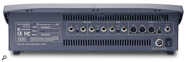 The Command 8 includes audio inputs and speaker outputs, allowing it to be used as a monitor controller.