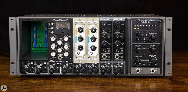 The 500-series module slots occupy most of the front-panel real-estate, but Cranborne have also managed to incorporate a  summing mixer along the bottom and monitor control facilities on the right.