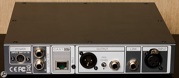 The Link output allows the Camden EC1 to perform as a DI box, passing the pre‑gain‑stage signal through to an amp or other destination.