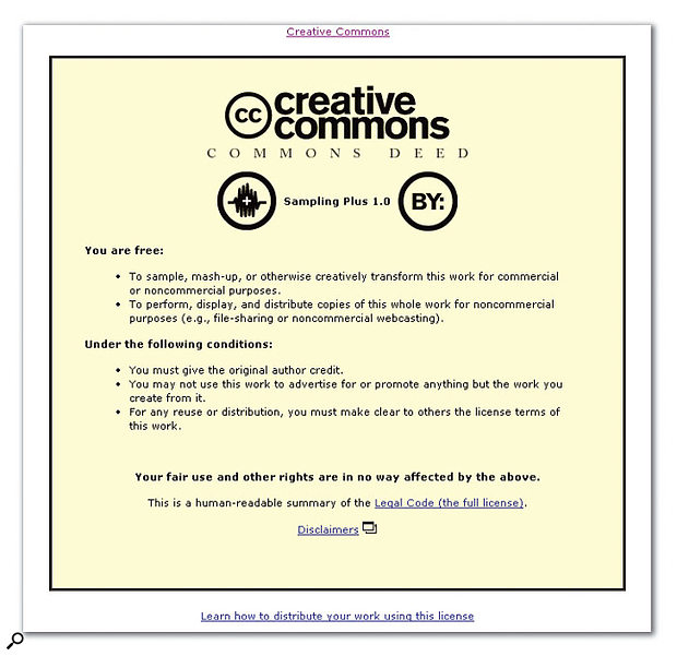 One of the Creative Commons licences available for download from the main site, http://creativecommons.org.