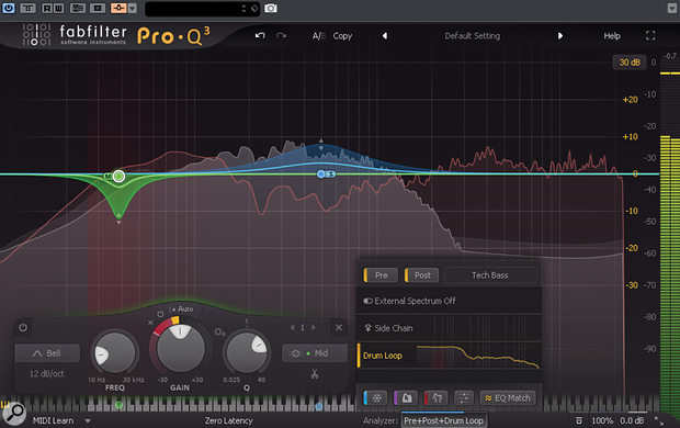 Using FabFilter Pro-Q  3's dynamic EQ mode to duck only the Mid component of a bass sound, with the gain reduction being triggered by a kick drum. At the same time, the bass part is expanded in the mid-range, keeping it nice and present while the low frequencies are ducked.