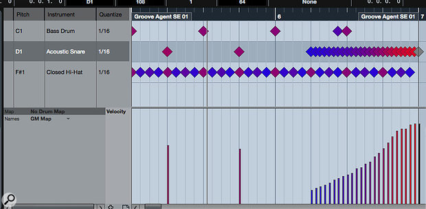 EDM snare roll anyone? This is easy to create with the Drum Editor toolset.