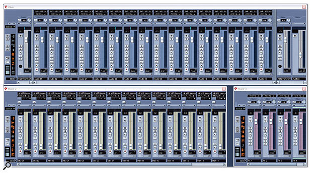 In Cubase SX 3 you can open and configure three separate Mixer windows. In the example above, one Mixer shows MIDI channels, another shows audio, input and output channels, and the third window displays FX channels.