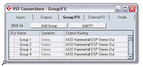 The Groups/FX page in the VST Connections window provides another way of configuring Mixer Group channels.