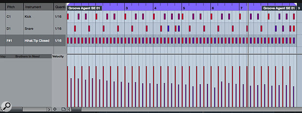 Some basic manual editing, as shown here for the hi-hat lane, can be used to further emphasise the accented hits within a pattern. Note the colour (velocity) variations also added for the snare and kick hits.