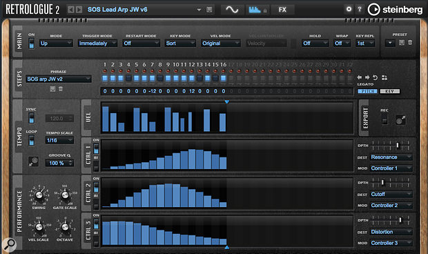 Screen 2: Retrologue's arpeggiator is very well featured and includes (far-right) a 'mini' modulation matrix.