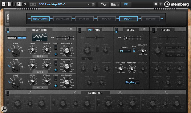 Screen 4: Via the Effects section, I  added a  bit of delay and a  dose of the Resonator to spice things up.