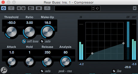 With suitable starting-point settings, the stock Cubase Compressor plug-in can serve on your 'rear bus'.