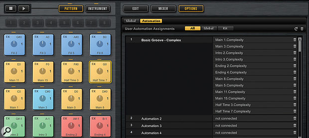 The real power of Groove Agent lies in the automation system. Multiple parameters from different pads can be assigned to a  single automation lane, which makes it easy to introduce natural-sounding variation in the virtual performance.