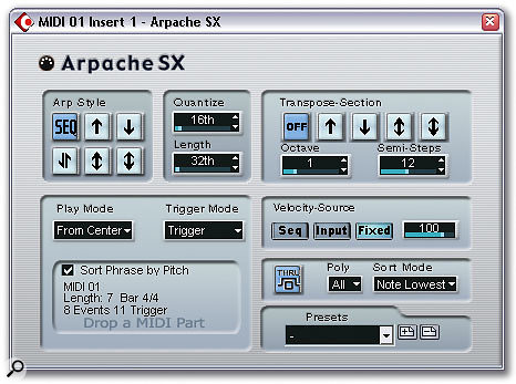 Arpache SX takes arpeggiation to new heights, with an option to use a note list derived from any MIDI part you care to drag and drop from the Project Window.