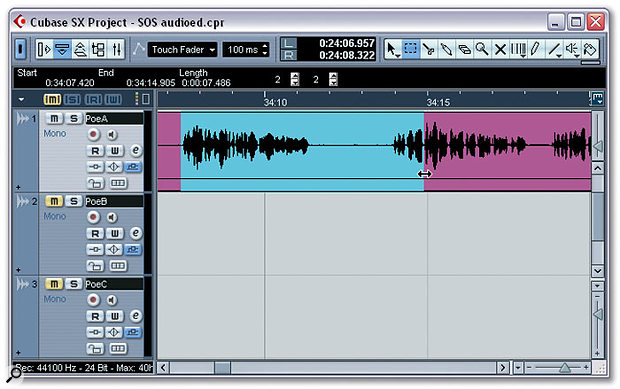 Dragging the Range Selection tool within an audio event allows you to make selections across any range in the Project window.