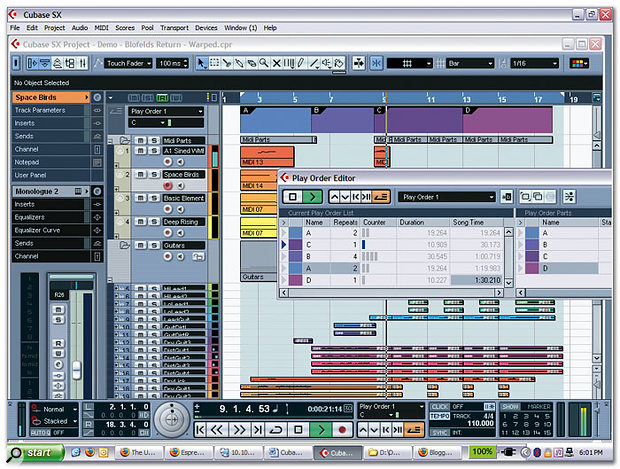 Version 3 of Cubase SX maintains the visual style of its predecessor but includes a number of welcome changes, such as the ability to see the colour assigned to a track, viewing of the Sections for a VST Instrument Channel below the Sections in the Inspector for the corresponding MIDI track, and a smaller 'smallest' height for tracks. Notice also the Play Order Editor, which allows you to specify an order for the defined Play Order Parts when a Project is played back.