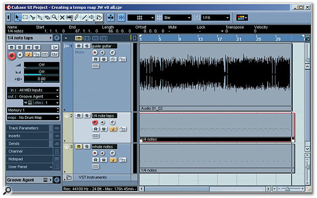 As described below, the audio file contains a rhythm guitar part with tempo variations. In the first MIDI track, quarter-note 'taps' have been recorded in time with the freely recorded guitar part. After these were edited to tidy up their timing, the second MIDI track was created, removing the MIDI notes on beats two, three and four of each bar to leave whole-note taps.