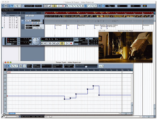 Cubase SX includes many powerful commands for building tempo maps when writing to picture. Here you can see the Time Warp tool being used to create a tempo map based on hitpoints in the video that have been identified by Markers on a Marker track. Notice how the Ruler on the Project window turns dark red when the Time Warp tool is active, and how the tempo changes are illustrated with triangles. The Tempo Editor shows a more graphical overview of the Tempo Events.