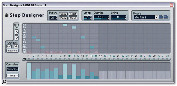 The Step Designer is a flexible, pattern-based sequencer capable of holding up to 200 patterns that can be easily automated in real time.