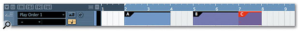 Parts are drawn into the Play Order Track using the pencil tool, just as you can with any other parts on other tracks.