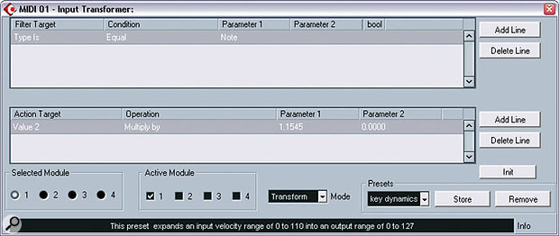 The Input Transformer is handy for filtering out specific MIDI data, or, as shown here, you can use it to tweak your keyboard's velocity curve in real time.
