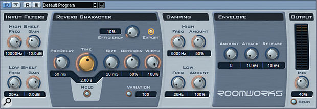 Roomworks is a free reverb plug-in included with Steinberg's recent 3.01 update to Cubase SX.