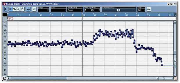 This tempo map was created using quarter-note tapping, and while the basic pattern of tempo variation can be clearly seen, it obviously still needs some tidying up!